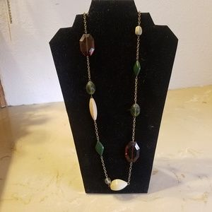 Long beaded and chain necklace